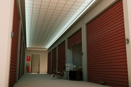 Oversikt over flere lagerrom på innsiden av et lagerlokale
